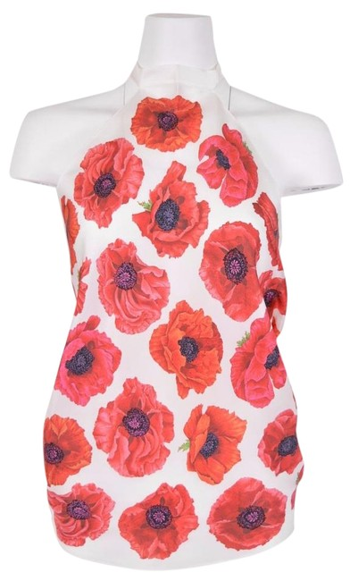 Item - Multi-color 327378 Cream Red Floral Poppy Scarf Blouse O/S Halter Top Size OS (one size)