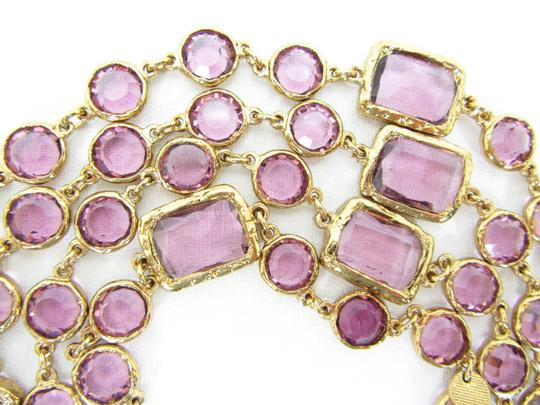 Chanel Vintage Lavender Crystal Chicklet Gold Plated Necklace Sautoir