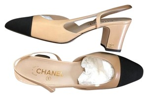 Chanel Slingbacks Two Tone Size 40 Cc Slingback Beige Pumps