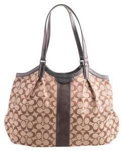 Coach Shoulder Patent Leather Tote in brown