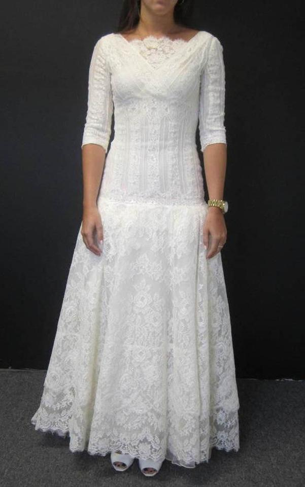 Valentino Cream Sposa Victorian Lace Drop Waist Gown and Veil ...