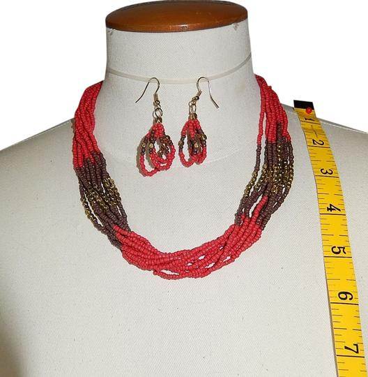 Other Statement Necklace & Earrings, Three Tone Multi Strands Natural Seed Beads Set