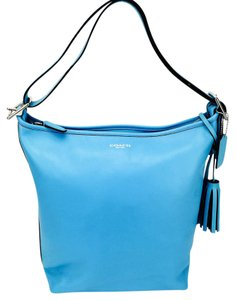 Coach Leather Hobo Bucket Teal Shoulder Bag