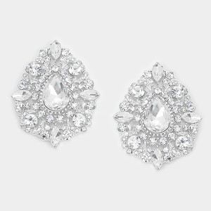 Rhinestone Crystal Teardrop Accent Petite Earrings
