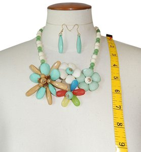 Statement Necklace & Earrings, Garden Flower Party Chunky Acrylic Beads Set