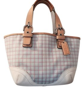 Coach Tote in Beige and cream leather with light blue, pink and white check canvas