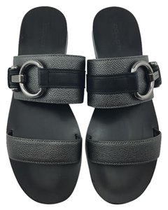 Coach Slipon Gunmetal Cindy Black Sandals