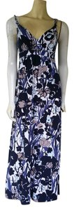 Blue Maxi Dress by Ann Taylor Stretch Maxi Cotton Blend Floral