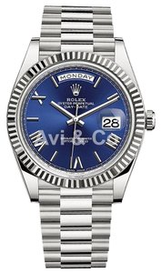 Rolex Rolex Day-Date 40 18K White Gold Watch Blue Roman Dial 228239