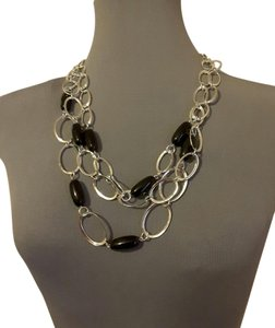 Other Silver/ Black Ring Necklace