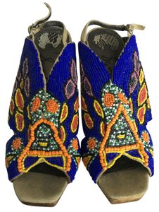 Sam Edelman Blue, Orange, Yellow Beaded Wedges