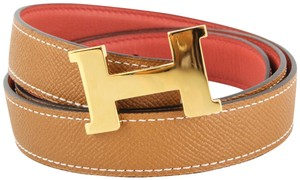 Herms Gold and Sangine Reversible 24mm Constance Belt