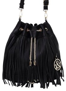 Chain Fringe Bucket Style Black Messenger Bag
