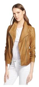 Vince Leather Cowl Neck Side Zip Tan Leather Jacket