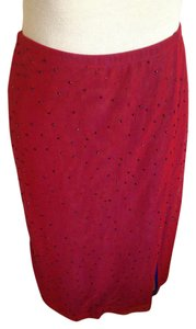 BCBGMAXAZRIA Beaded Embellished Layered Formal Skirt Red Multi