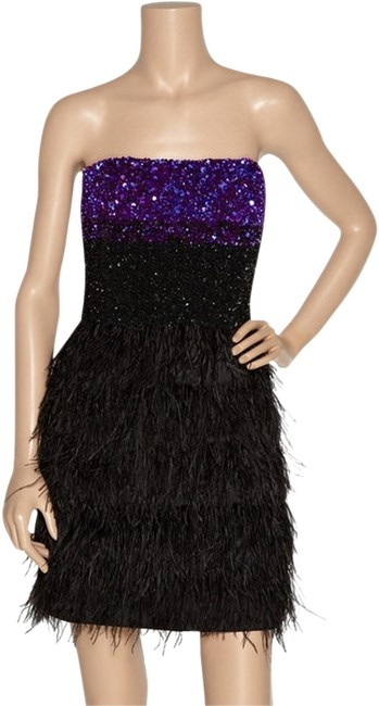 Badgley Mischka Feather Sequin Strapless Redcarpet Party Dress