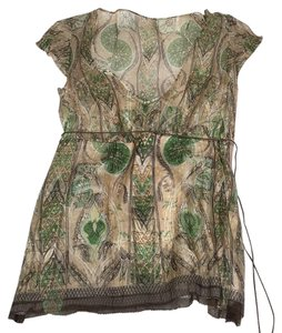 Elie Tahari Top Multi-shades of green and patterns