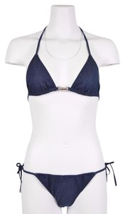 Gucci Washed Blue Denim Piston Lock Bikini Bathing Suit
