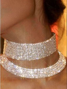 All Rhinestones And Crystals Three Layer Bib Choker Statement Necklace 2016 Jewelry Trend Destination Wedding