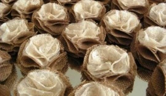 Preload https://item4.tradesy.com/images/champagne-50-rustic-shabby-chic-ivory-and-burlap-flowers-wholesale-burlap-rosettes-decor-set-of-50-p-166988-0-0.jpg?width=440&height=440