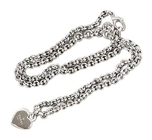 Gucci Gucci Sterling Silver Heart Charm Pendant Chain Link Necklace in Box