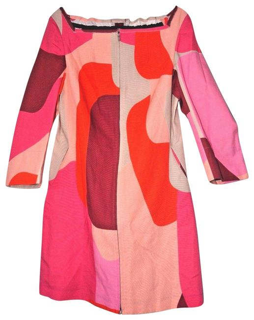 Item - Pink Print Cotton Overcoat 42/Us 6 New Above Knee Short Casual Dress Size 8 (M)