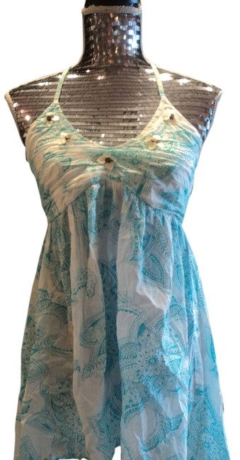 Andrew & Co. Bohemian Shell Wood Beads Cotton turquoise Halter Top