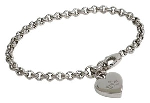 Gucci Gucci Sterling Silver Heart Charm Chain Link Bracelet in Box