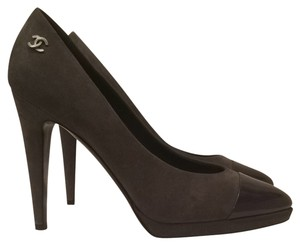Chanel Suede New Designer Couture Fashion Style Cc Grey Pumps