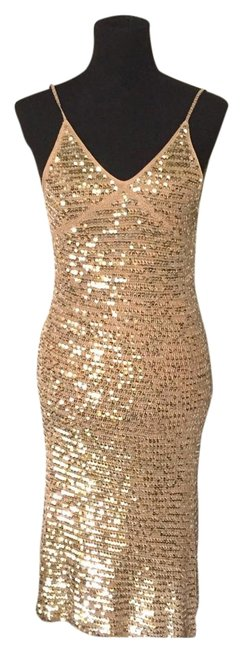 Item - Gold Silk Sequined Crochet Mid-length Night Out Dress Size 2 (XS)
