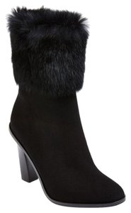 Via Spiga Rabbit Fur Suede Black Boots