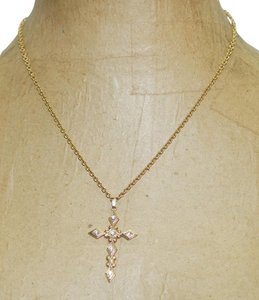 """1928 Vintage 1928 Brand White Crystal Gold Cross 1.75"""" Pendant 18"""" Necklace"""