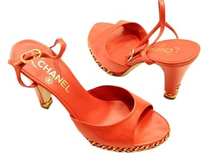Chanel red/orange Sandals