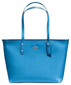 Coach Zip Top Casual Leather Tote in blue