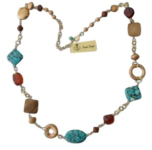 Premier Designs NEW In Box Genuine Turquoise & Natural Shells /Glass & Beads Necklace by Premier Designs 26