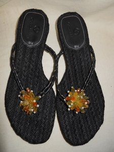 Cole Haan Leather Beaded Thong Black Sandals