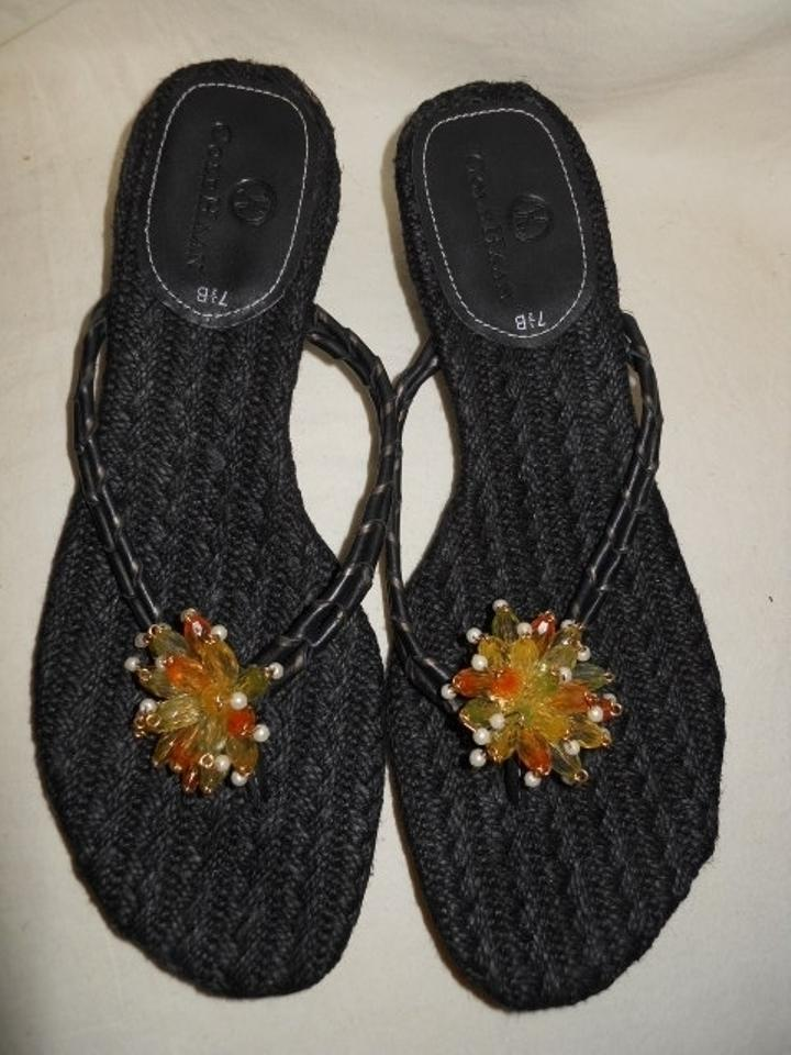 55f2a830ce9 Cole Haan Black Beaded Leather Thong Sandals Size US 7.5 Regular (M ...