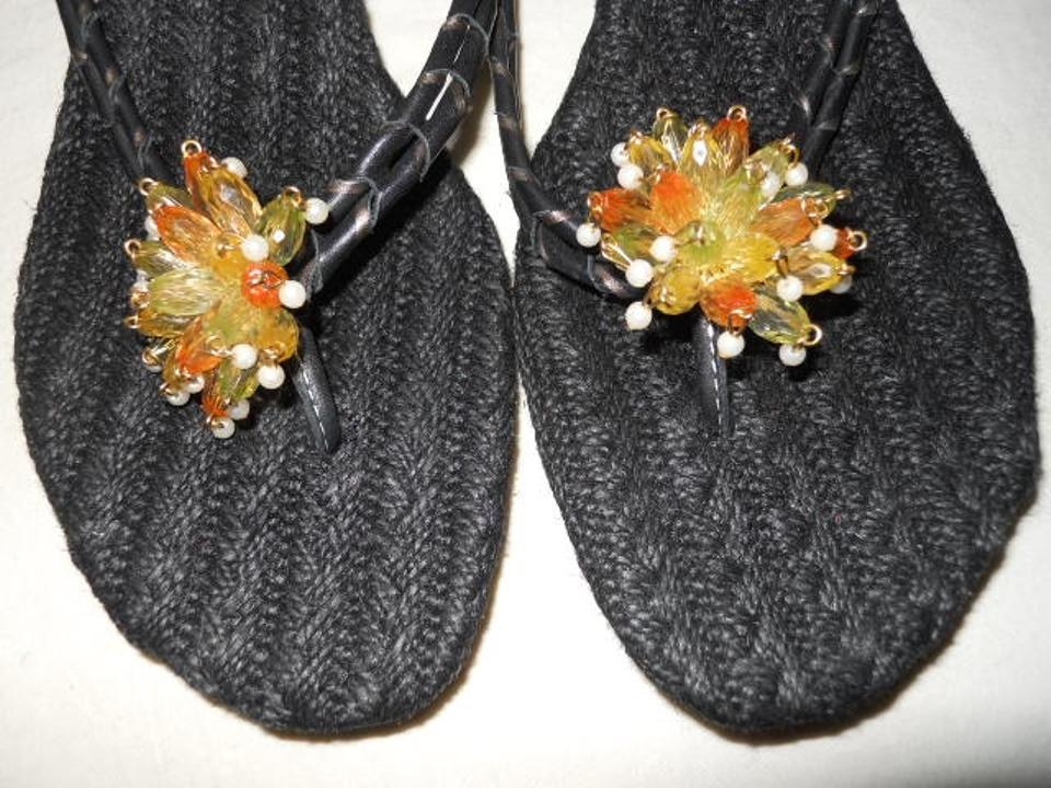 17ab540fb67 Cole Haan Black Beaded Leather Thong Sandals. Size  US 7.5 Regular (M ...