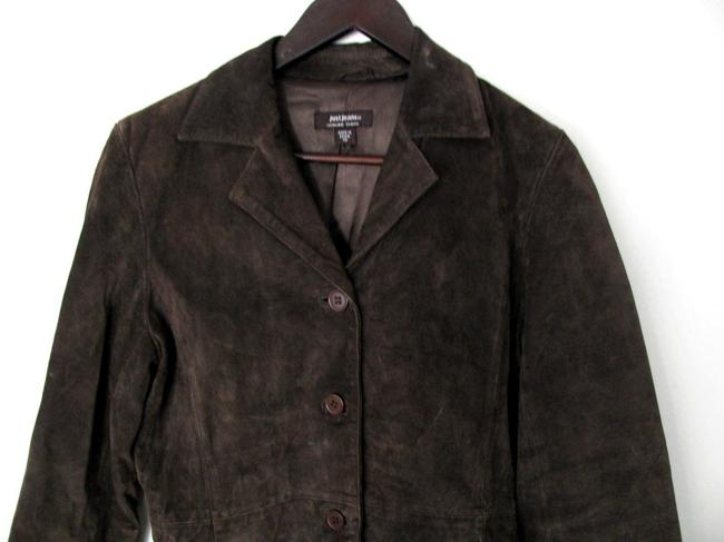 Just Jeans Genuine Suede Xs Small S 4 6 Tailored Buttoned Coat brown Leather Jacket