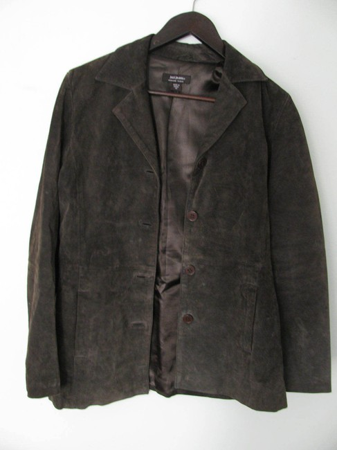 Just Jeans Genuine Suede Leather Xs Small S 4 6 Tailored Buttoned Coat brown Leather Jacket