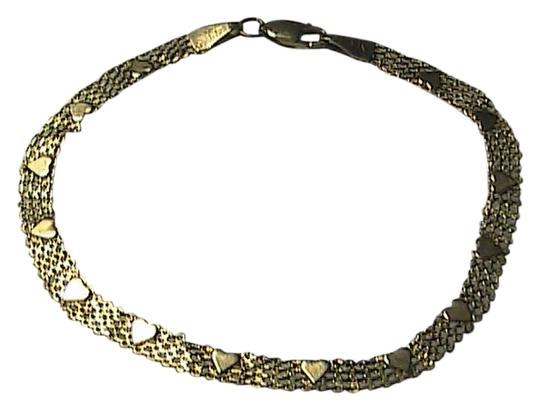 Vintage 14k 585 Yellow Gold Heart Mesh Bracelet