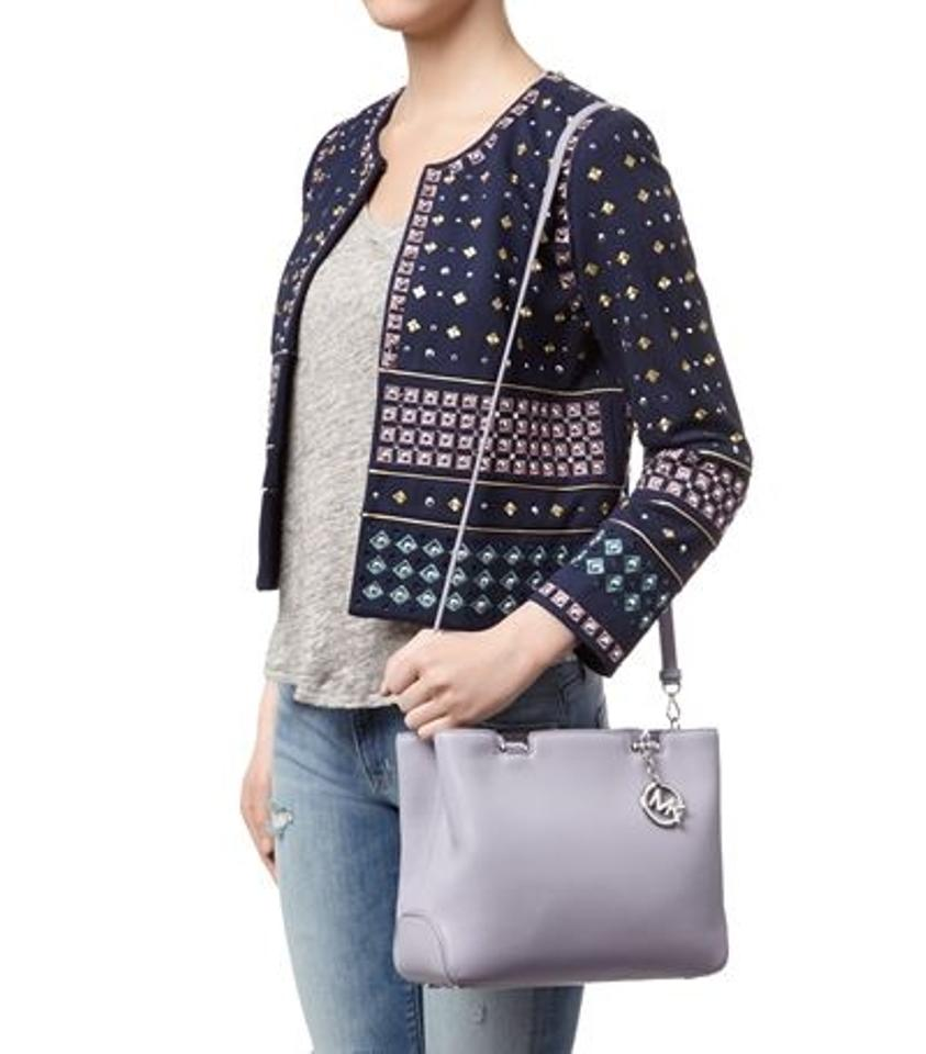 a7125c7a4681 Michael Kors Anabelle Medium Top Zip Lilac Silver Pebble Cow Leather ...