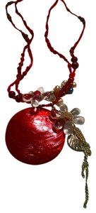 New Beaded Shell Glass Necklace Pendant Red J600