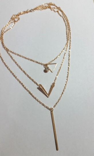 New New Gold Tone Multi Layer Chain Charm Necklace J3420