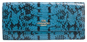 Coach Coach 53654 Colorblock Exotic Embossed Leather Soft Slim Wallet Navy MSRP $165
