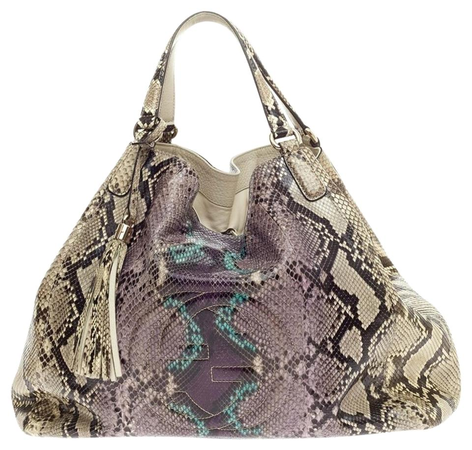 c8476a1f32d1 Gucci Soho Large Brown Python Skin Shoulder Bag - Tradesy