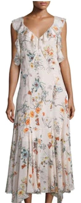 Item - Nude Pink Floral Meadow Silk Long Casual Maxi Dress Size 2 (XS)