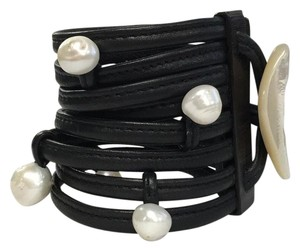 Monies MONIES leather and pearl bracelet