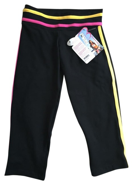 Item - Black/ with Pink & Yellow Accent Cropped Leggings Activewear Bottoms Size OS (one size)