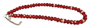 Red Glass Beaded Necklace Wonderful Red Glass Necklace with Silver Rhinestones in Between,Tons of Sparkle,20 Inches Long